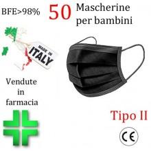 50x MASCHERINE TIPO II BAMBINI CERTIFICATE CE NERO monouso Naso Bocca viso