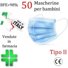 50x MASCHERINE TIPO II BAMBINI CERTIFICATE CE CELESTE monouso Naso Bocca viso