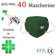 40x MASCHERINE FFP2 ITALIANE CERTIFICATE CE COLORE VERDE SCURO monouso Naso Bocca viso
