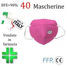 40x MASCHERINE FFP2 ITALIANE CERTIFICATE CE COLORE ROSA monouso Naso Bocca viso