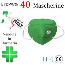 40x Mascherine FFP2 Italia certificate CE colore Verde monouso Naso Bocca viso