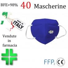 40x Mascherine FFP2 Italia certificate CE colore BLU e monouso Naso Bocca viso