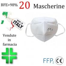 20x MASCHERINE FFP2 ITALIANE CERTIFICATE CE COLORE BIANCO monouso Naso Bocca viso