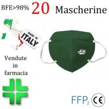 20x MASCHERINE FFP2 ITALIANE CERTIFICATE CE COLORE VERDE SCURO monouso Naso Bocca viso