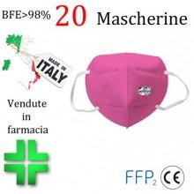20x MASCHERINE FFP2 ITALIANE CERTIFICATE CE COLORE ROSA monouso Naso Bocca viso