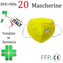 20x MASCHERINE FFP2 ITALIANE CERTIFICATE COLORE GIALLO monouso Naso Bocca viso