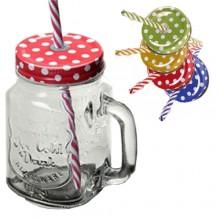 Bicchieri bicchiere vetro brocca con manico multicolore set 2 pz con cannuccia