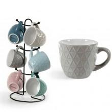 Set 6 tazze caffè 100 ml ceramica con stand colori assortiti tazzine cucina