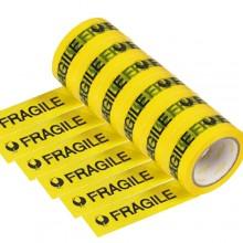 6 rotoli nastro adesivo giallo scritta fragile 70m x 48mm silenzioso imballaggio