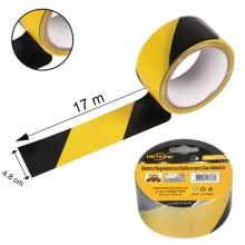 6 rotoli nastro adesivo segnaletico nero giallo 70m x 48mm silenzioso attenzione