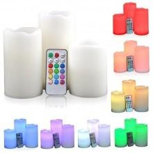 Candela Luce a Led RGB Set 3 Candele Multicolori Telecomando Decorazioni Casa