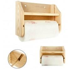 Portartolo carta da cucina in legno con mensola rotolo omaggio portarotoli