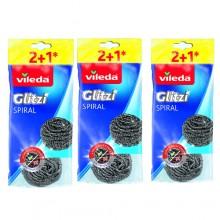 3 pacchetti 9x Vileda Glitzi Paglietta in acciaio inox Spugna spugnette abrasiva