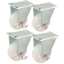 Set 2 ruote plastica per carrello con staffa fissa ruota rotella misure varie