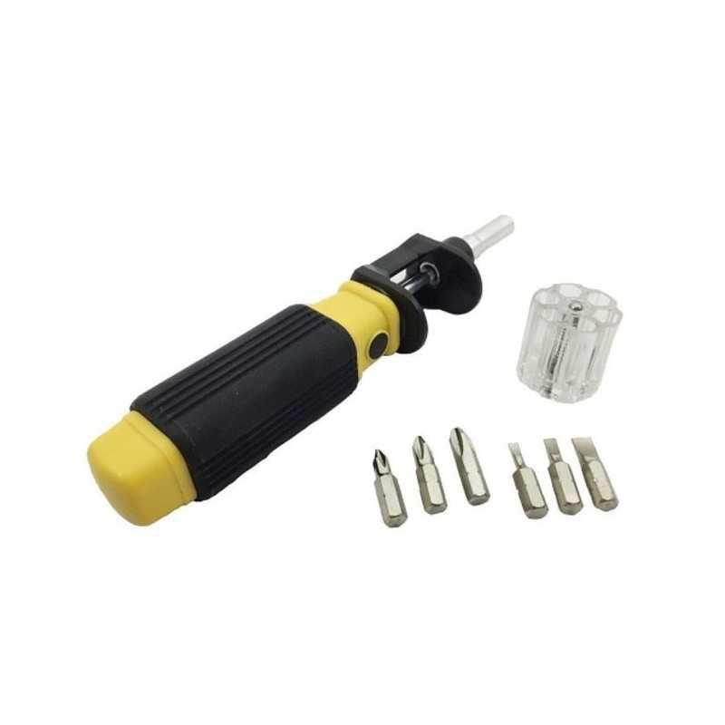 Cacciavite con punte intercambiabili con punta calamitata 6in1