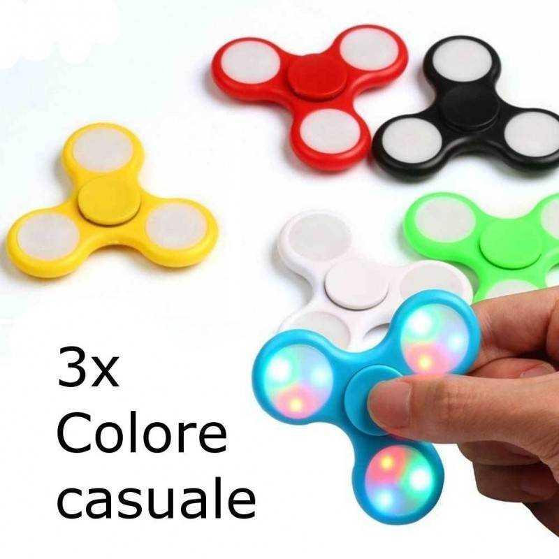3x fidget spinner antistres cuscinetto sfera rilassante antistress tascabile LED