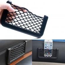 Tasca adesiva porta oggetti rete elasticizzata e plastica da auto porta telefono