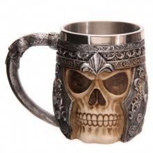 .    Tazza ornamentale scheletro teschio guerriero elmo birra vino vichinga bevande     .