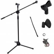 Asta doppio microfono professionale con stand smartphone pinza treppiede studio