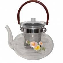 Originale teiera cinese vetro filtro alluminio con decorazione manico plastica