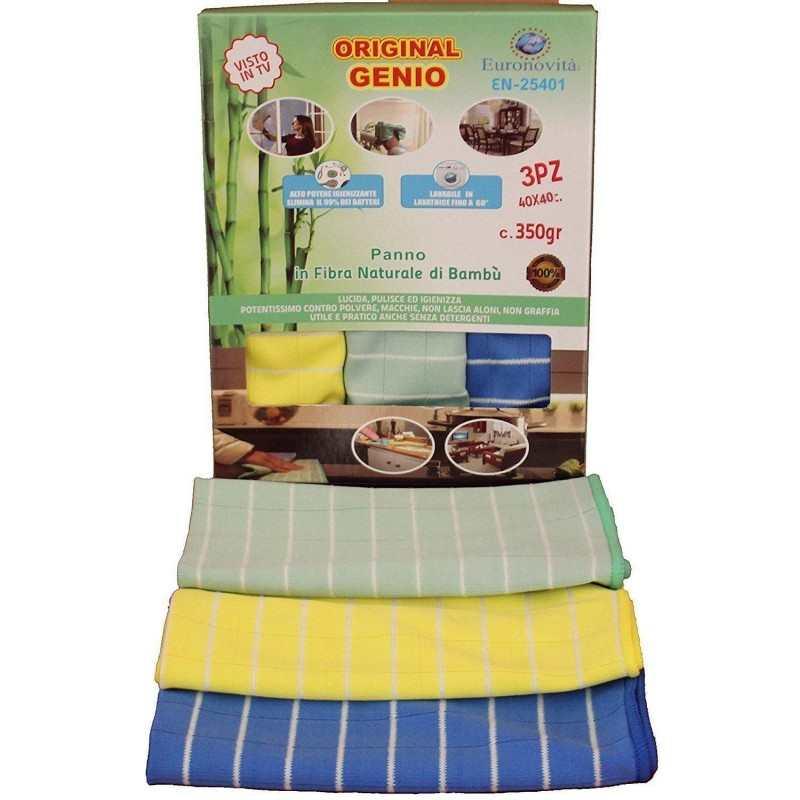 Kit 3 panni spugna fibra naturale di bamboo multiuso da asciutto e bagnato 40 cm