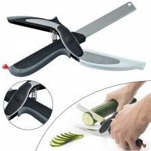 Forbici cucina tagliere coltello frutta verdura carne lama affetta taglia 2 in 1