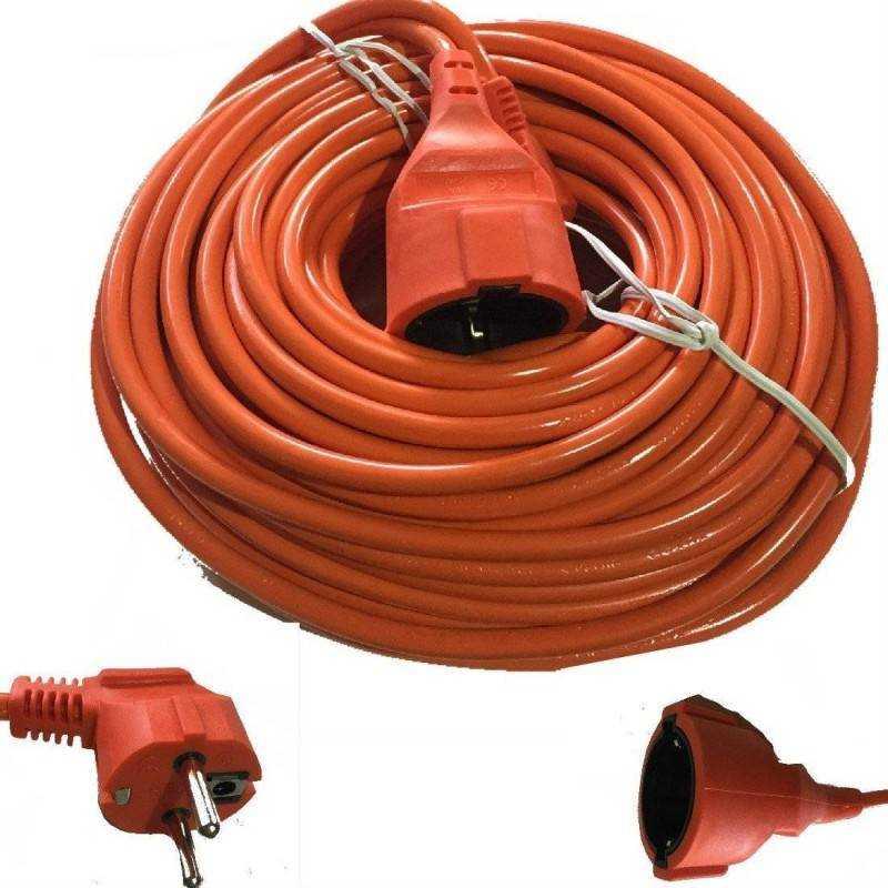 Cavo prolunga corrente elettrica giardino da esterni schuko 30 metri - Arancione