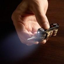 Portachiavi multifunzione organizzatore Luce LED apribottiglie con batteria nero