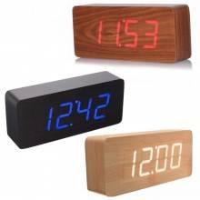 Sveglia orologio digitale rettangolo simil legno orario temperatura display led