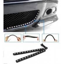 Coppia luci diurne per auto led strip strisce bianche flessibili adesive 12v