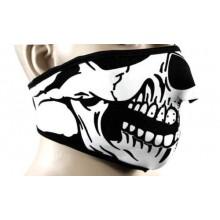 Maschera reversibile neoprene disegno teschio / nera sport neve moto softair sci