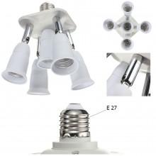 Portalampada moltiplicatore E27 da 1 a 5 orientabile bianco illuminazione luce
