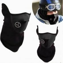 Maschera antivento micropile ventilata velcro nero scaldacollo calda comoda
