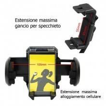 Supporto cellulare specchietto retrovisore auto sostegno smartphone orientabile