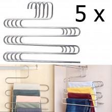 5x Stampella gruccia appendiabiti metallo 5 piani pantaloni calzoni asciugamani
