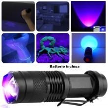 Mini torcia UV luce wood rileva banconote macchie fluidi zoom portatile batteria