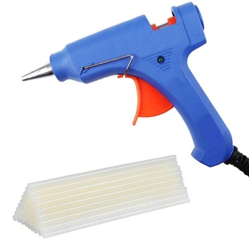 Pistola Grande colla a caldo 30 stick 11mm 60W elettrica blu LED interruttore
