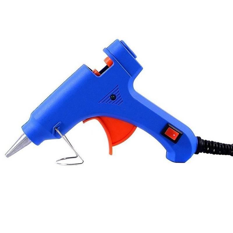 Pistola piccola colla a caldo 48 stick 7,2mm 20W elettrica blu LED interruttore
