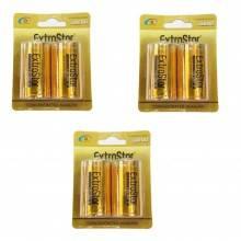 3 pacchetti 6 batterie C mezza torcia lunga durata pile batteria pila torce