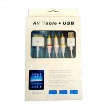 Cavo adattatore IPAD AV USB connettore TV tablet 1,5m IPHONE IPAD