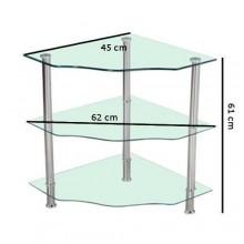 Tavolino angolo tavolo vetro temperato 3 livelli casa salotto stile da montare