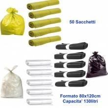 50 sacchetti buste 80x120 raccolta differenziata pattumiera immondizia 130 litri