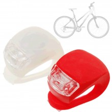 Set 2 luci bici silicone anteriore posteriore LED posizione rosso bianco CR 2032