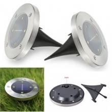 2 fari 4 LED pannello solare ricaricabile interruttore giardino esterno piatto