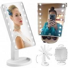 Specchio trucco illuminato con LED batteria rotante vano oggetti cosmetici touch