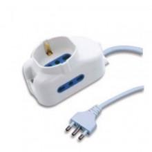 Multipresa ciabatta 3 posti lineare 1 schuko interruttore bianco casa elettrica