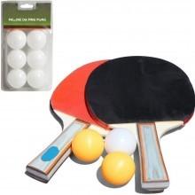 Kit ping pong 2 Racchette 3 Palline da Gioco Tennis da Tavolo piu 6 palline