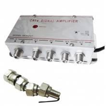 Amplificatore TV 3 out uscite antenna sdoppiatore televisione decoder AV in 1