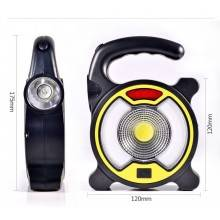 Torcia emergenza 4 modalità LED maniglia tonda pannello solare ricaricabile