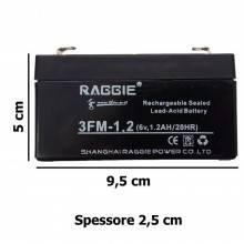 Batteria Ricaricabile al Piombo 6V 1,2Ah UPS solare allarme videosorveglianza